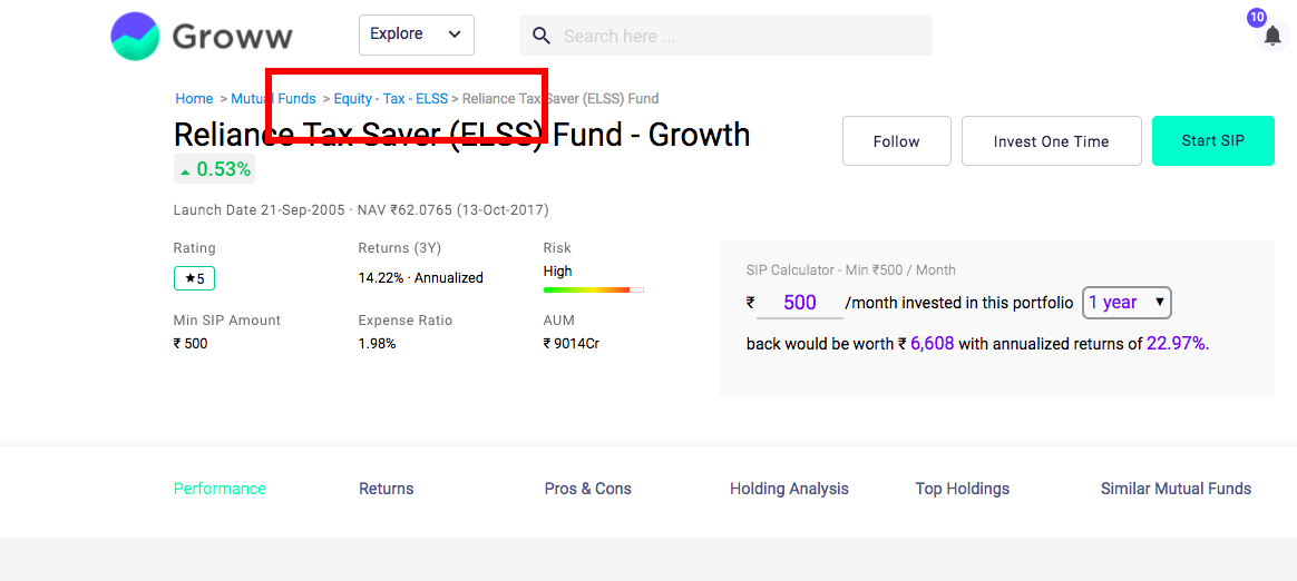 how to check tax saving mutual fund